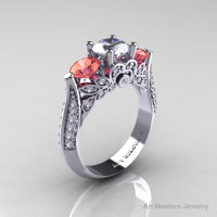 Classic 14K White Gold Three Stone White and Peach Imperial Topaz Diamond Solitaire Ring R200-14KWGDPIWT-1