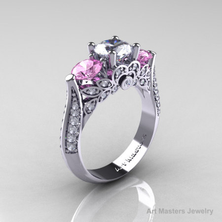 Classic 14K White Gold Three Stone White and Light Pink Topaz Diamond Solitaire Ring R200-14KWGDLPWT-1