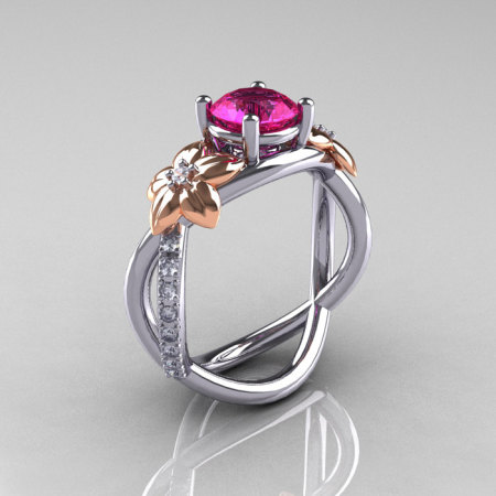 Nature Classic 18K Two-Tone Gold 1.0 CT Pink Sapphire Diamond Leaf and Vine Engagement Ring R180-18KTTWRGDPS-1