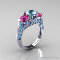 Modern 10K White Gold Three Stone Blue Topaz Pink Sapphire Solitaire Engagement Ring Wedding Ring R250-10KWGPSBT-1