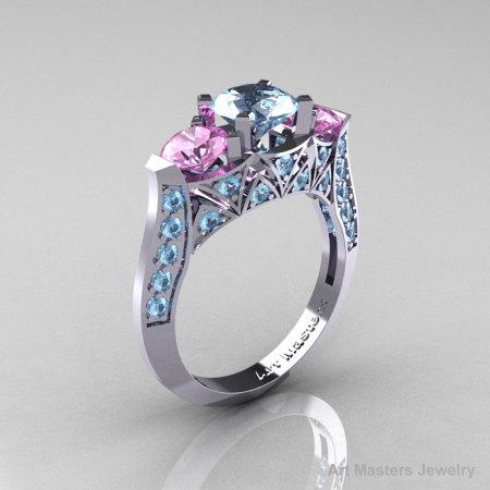 Modern 10K White Gold Three Stone Aquamarine Light Pink Sapphire Solitaire Engagement Ring Wedding Ring R250-10KWGLPSAQ-1