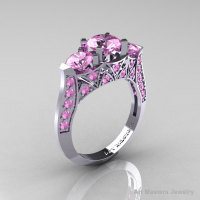 Modern 14K White Gold Three Stone Light Pink Sapphire Solitaire Engagement Ring Wedding Ring R250-14KWGLPS-1