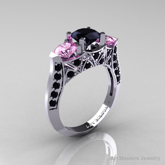 Modern 14K White Gold Three Stone Black Diamond Light Pink Sapphire Solitaire