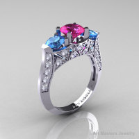 Modern 14K White Gold Three Stone Pink Sapphire Blue Topaz Diamond Solitaire Engagement Ring Wedding Ring R250-14KWGDBTPS-1