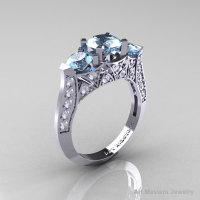 Modern 14K White Gold Three Stone Aquamarine Diamond Solitaire Engagement Ring Wedding Ring R250-14KWGDAQ-1
