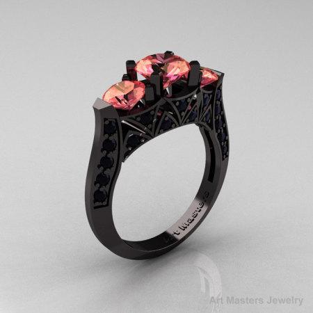 Modern 14K Black Gold Three Stone Peach Imperial Topaz Black Diamond Solitaire Engagement Ring Wedding Ring R250-14KBGBSPIT-1