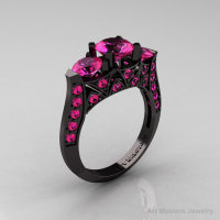 Modern 14K Black Gold Three Stone Pink Sapphire Solitaire Engagement Ring Wedding Ring R250-14KBGPS-1