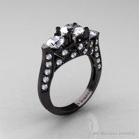 Exquisite Modern 14K Black Gold Three Stone White Sapphire Diamond Solitaire Ring R250-14KBGDWS-1