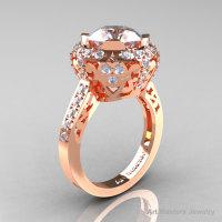 Modern Edwardian 14K Rose Gold 3.0 Carat White Sapphire Diamond Engagement Ring Wedding Ring Y404-14KRGDWS-1