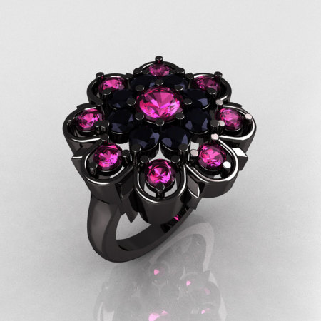 Modern Edwardian 14K Black Gold Pink Sapphire Black Diamond Cocktail Flower Ring R101-14KBGBDPS-1