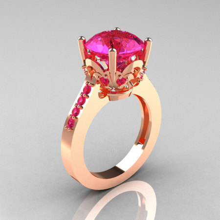 French Bridal 14K Pink Gold 3.0 Carat Pink Sapphire Solitaire Wedding Ring R301-14PGPS-1