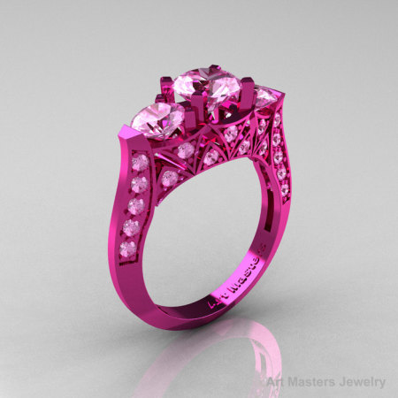 Modern 14K Pink Gold Three Stone Light Pink Sapphire Solitaire Engagement Ring Wedding Ring R250-14KPGLPS-1