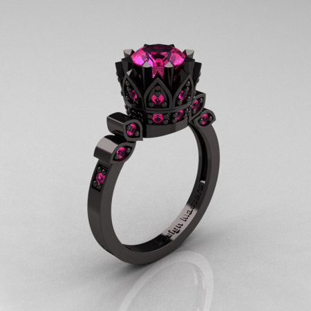 Exclusive Classic Armenian 14K Black Gold 1.0 Pink Sapphire Bridal Solitaire Ring R405-14KBGPS-1
