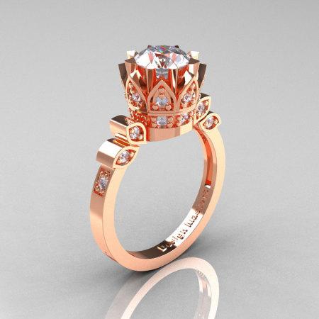 Classic Armenian 14K Rose Gold 1.0 White Sapphire Diamond Bridal Solitaire Ring R405-14KRGDWS-1