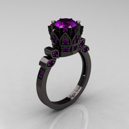 Exclusive Classic Armenian 14K Black Gold 1.0 Amethyst Bridal Solitaire Ring R405-14KBGAM-1