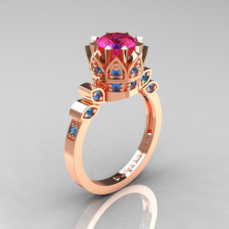 Classic Armenian 14K Rose Gold 1.0 Pink Sapphire Blue Topaz Bridal Solitaire Ring R405-14KRGBTPS-1