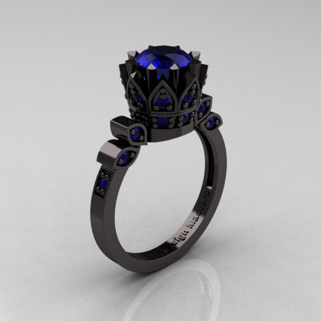 Exclusive Classic Armenian 14K Black Gold 1.0 Blue Sapphire Bridal Solitaire Ring R405-14KBGBS-1