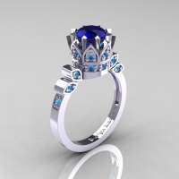 Classic Armenian 14K White Gold 1.0 Blue Sapphire Blue Topaz Bridal Solitaire Ring R405-14KWGBTBS-1