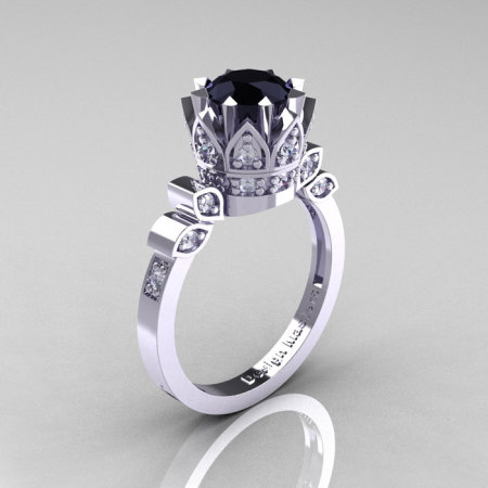 Classic Armenian 14K White Gold 1.0 Black and White Diamond Bridal Solitaire Ring R405-14KWGDBD-1