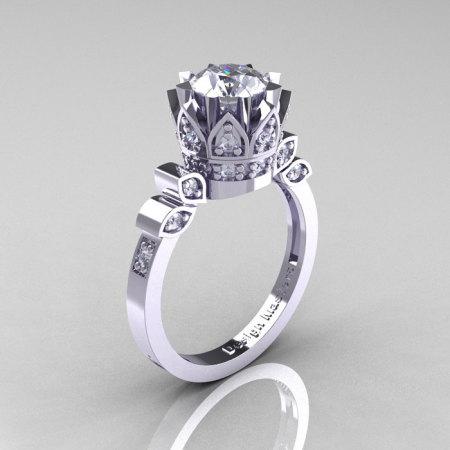 Classic Armenian 950 Platinum 1.0 Russian Cubic Zirconia Diamond Bridal Solitaire Ring R405-PLATDRCZ-1