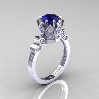 Classic Armenian 14K White Gold 1.0 Blue Sapphire Diamond Bridal Solitaire Ring R405-14KWGDBS-1