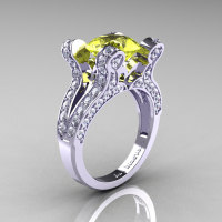 French Vintage 14K White Gold 3.0 CT Yellow Sapphire Diamond Pisces Wedding Ring Engagement Ring Y228-14KWGDYS-1