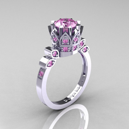Classic Armenian 10K White Gold 1.0 Light Pink Sapphire Bridal Solitaire Ring R405-10KWGLPS-1