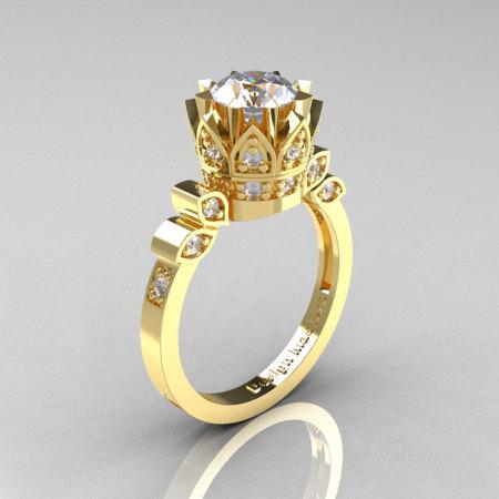 Classic Armenian 14K Yellow Gold 1.0 CZ Diamond Bridal Solitaire Ring R405-14KYGDRCZ-1