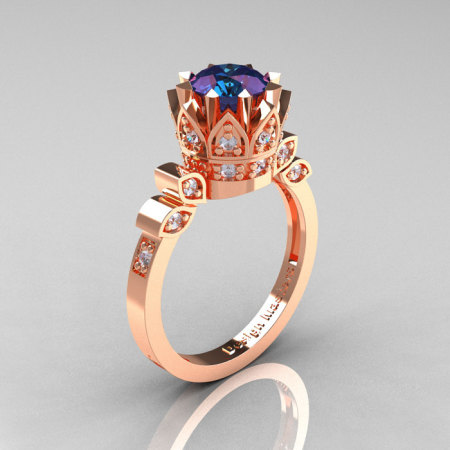 Classic Armenian 14K Rose Gold 1.0 Alexandrite Diamond Bridal Solitaire Ring R405-14KRGDAL-1