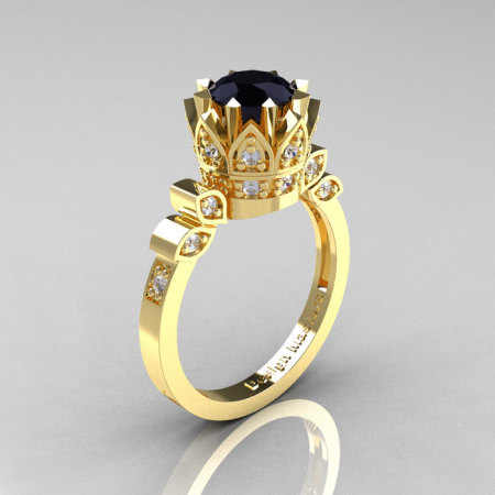 Classic Armenian 14K Yellow Gold 1.0 Black and White Diamond Bridal Solitaire Ring R405-14KYGDBD-1