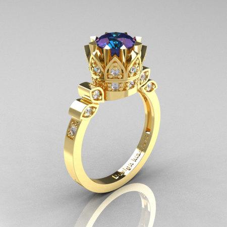 Classic Armenian 14K Yellow Gold 2.0 Alexandrite Diamond Bridal Solitaire Ring R405-14KYGD2AL-1