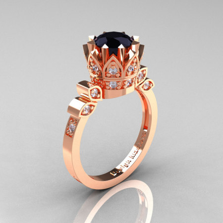 Classic Armenian 14K Rose Gold 1.0 Black and White Diamond Bridal Solitaire Ring R405-14KRGDBD-1