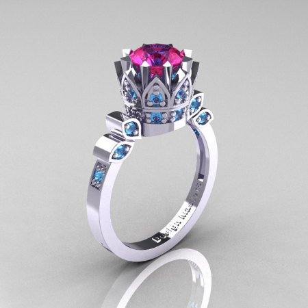 Classic Armenian 14K White Gold 1.0 Pink Sapphire Blue Topaz Bridal Solitaire Ring R405-14KWGBTPS-1