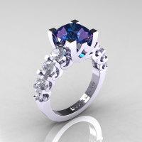 Modern Vintage 18K White Gold 3.0 Carat Alexandrite CZ Designer Wedding Ring R142-18KWGCZAL-1