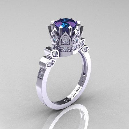 Classic Armenian 14K White Gold 1.0 Alexandrite Diamond Bridal Solitaire Ring R405-14KWGDAL-1