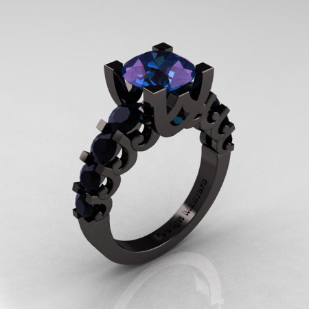 Modern Vintage 14K Black Gold 3.0 Carat Alexandrite Black DIamond Designer Wedding Ring R142-14KBGBDAL-1