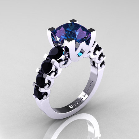 Modern Vintage 18K White Gold 3.0 Carat Alexandrite Black Diamond Designer Wedding Ring R142-18KWGBDAL-1