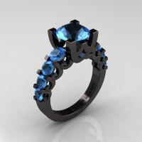 Modern Vintage 14K Black Gold 3.0 Carat Blue Topaz Designer Wedding Ring R142-14KBGBT-1