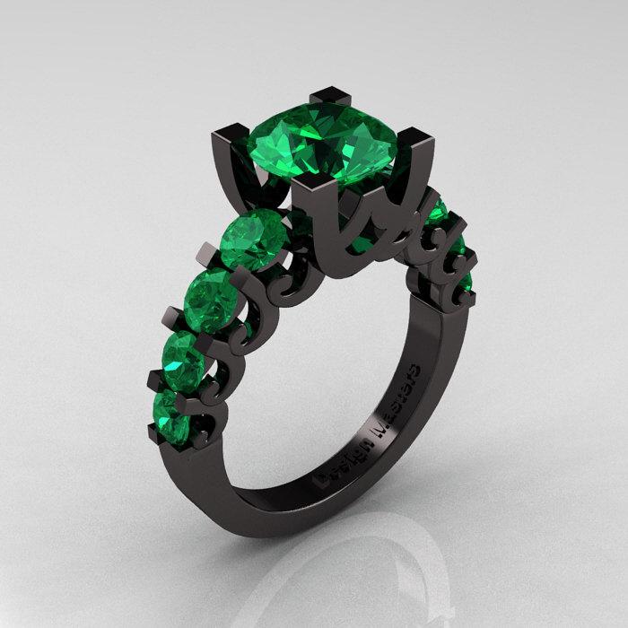 Modern Vintage 14K Black Gold 3 0 Carat Emerald Designer Wedding Ring R142 14