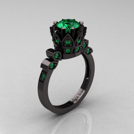 Exclusive Classic Armenian 14K Black Gold 1.0 Emerald Bridal Solitaire Ring R405-14KBGEM-1
