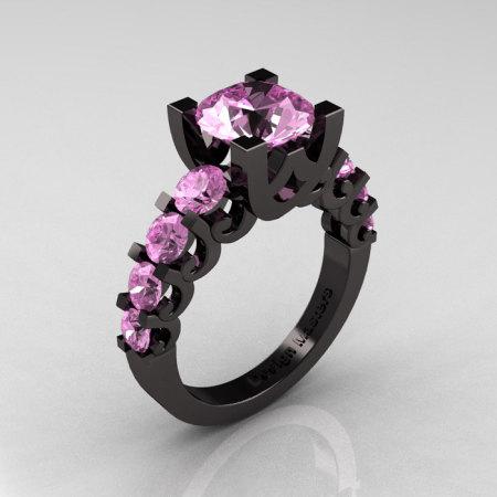 Modern Vintage 14K Black Gold 3.0 Carat Light Pink Sapphire Designer Wedding Ring R142-14KBGLPS-1