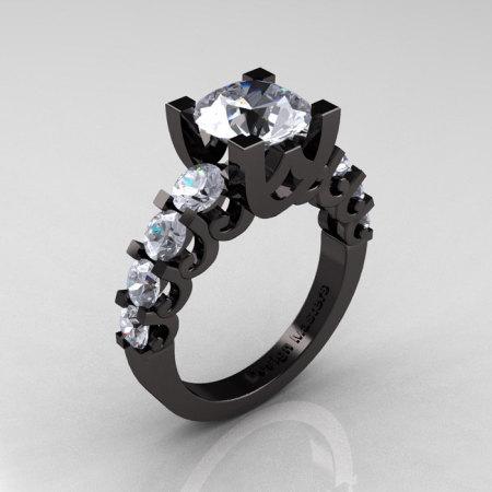 Modern Vintage 14K Black Gold 3.0 Carat White Topaz Designer Wedding Ring R142-14KBGWT-1