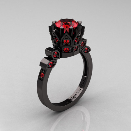Exclusive Classic Armenian 14K Black Gold 1.0 Ruby Bridal Solitaire Ring R405-14KBGR-1
