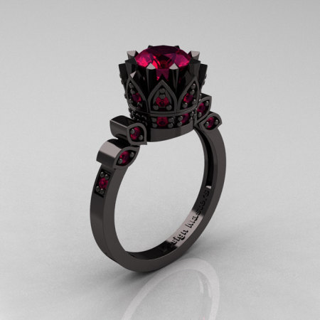 Exclusive Classic Armenian 14K Black Gold 1.0 Raspberry Red Garnet Bridal Solitaire Ring R405-14KBGRRG-1