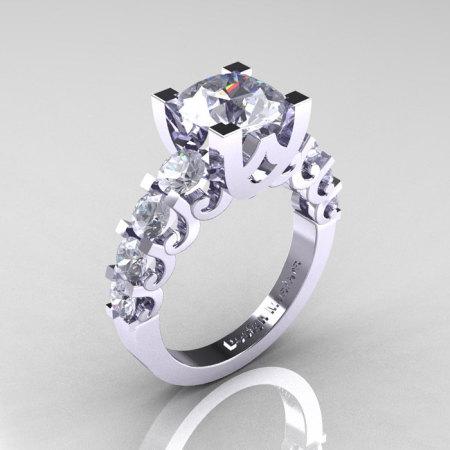 Modern Vintage 14K White Gold 3.0 Carat White Sapphire Designer Wedding Ring R142-14KWGWS-1