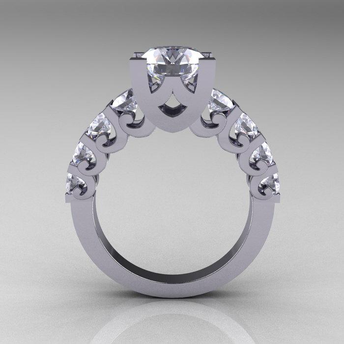 modern vintage 14k white gold 3 0 carat white sapphire