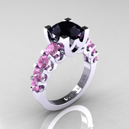 Modern Vintage 14K White Gold 3.0 Carat Black Diamond Light Pink Sapphire Designer Wedding Ring R142-14KWGLPSBD-1