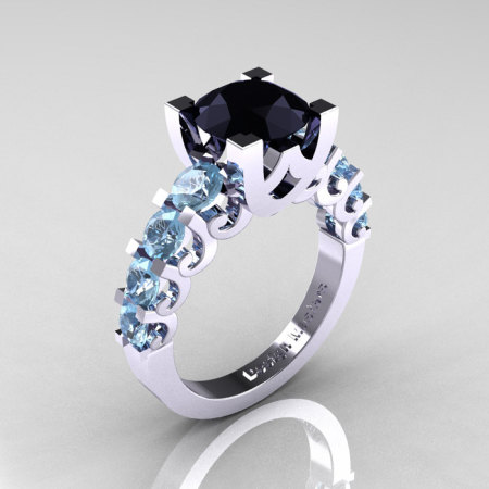 Modern Vintage 14K White Gold 3.0 Carat Black Diamond Aquamarine Designer Wedding Ring R142-14KWGAQBD-1