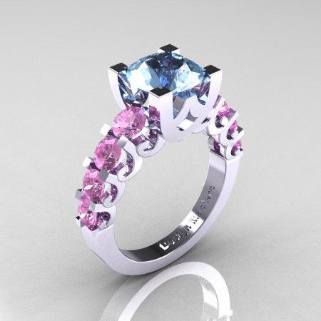 Modern Vintage 14K White Gold 3.0 Carat Aquamarine Light Pink Sapphire Designer Wedding Ring R142-14KWGLPSAQ-1