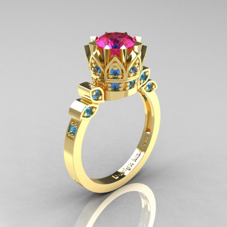 Classic Armenian 14K Yellow Gold 1.0 Pink Sapphire Blue Topaz Bridal Solitaire Ring R405-14KYGBTPS-1